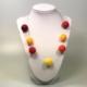 Halskette mit Filzperlen in Rottönen, ca. 50cm