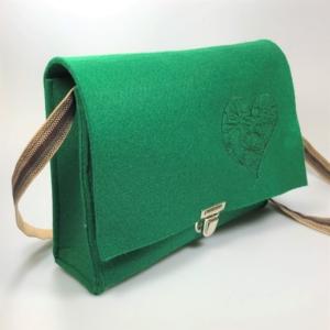 Grüne Handtasche aus Filz 4mm mit Motiv