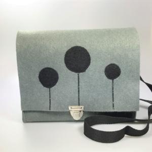 Graue Handtasche aus Filz 4mm mit Motiv