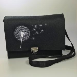 Schwarze Handtasche aus Filz 4mm mit Motiv