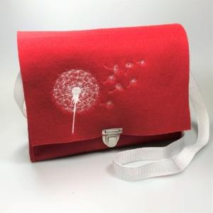 Rote Handtasche aus Filz 4mm mit Motiv