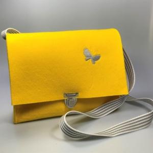 Gelbe Handtasche aus Filz 4mm mit Motiv